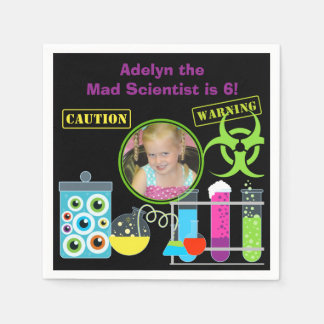 Photo Mad Scientist Birthday Paper Napkins Disposable Serviette