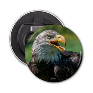Photo magnetized bottle opener of eagle