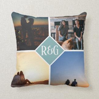 Photo Make Your Own Personalised 4 Photo Monogram Cushion