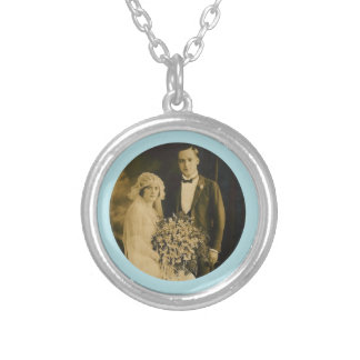 Photo Memorial Charm for Wedding Bouquet in Blue Round Pendant Necklace