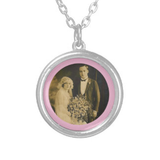 Photo Memorial Charm for Wedding Bouquet in Pink Round Pendant Necklace