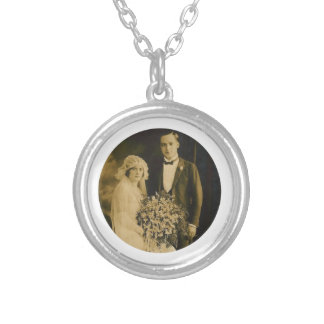Photo Memorial Charm for Wedding Bouquet in White Round Pendant Necklace