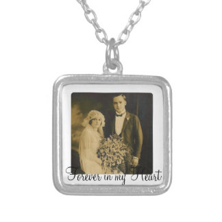 Photo Memorial Charm for Wedding Bouquet in White Square Pendant Necklace