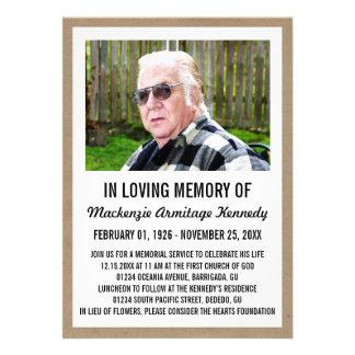 Photo Memorial Service or Funeral Invitations