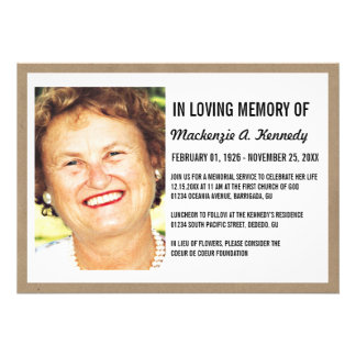 Photo Memorial Service or Funeral Invitations