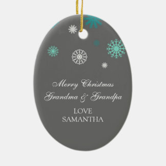 Photo Merry Christmas Grandparents Ornament Grey