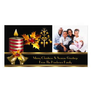 Photo Merry Christmas Season Greetings Family 3 Customised Photo Card
