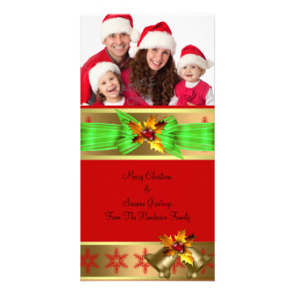 Photo Merry Christmas Season Greetings Family 4 Custom Photo Card