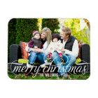 Photo Merry Christmas | White Script Overlay Magnet