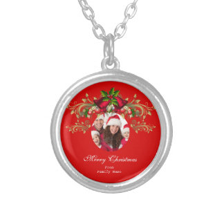 Photo Merry Xmas Green Red Christmas Silver Plated Necklace