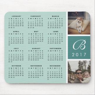 Photo & Monogram 2017 Calendar Mousepad | Mist