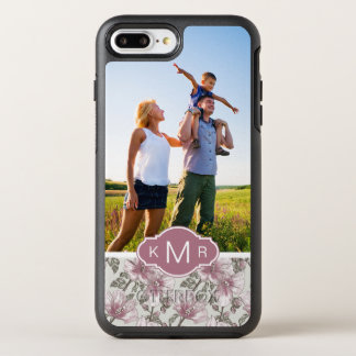 Photo & Monogram Pink Hibiscus Flowers OtterBox Symmetry iPhone 7 Plus Case