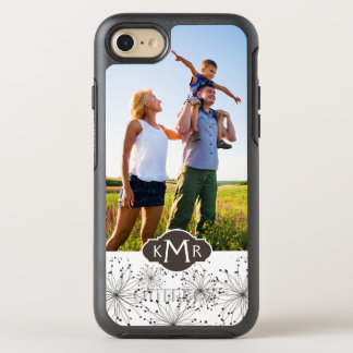 Photo & Monogram Retro floral background OtterBox Symmetry iPhone 8/7 Case