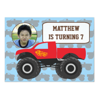 Photo Monster Truck Birthday Invitation