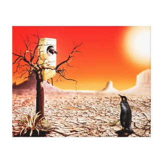Photo montage penguins in the desert gallery wrap canvas