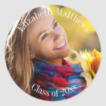 Photo Name and Class Year Graduation Round Sticker