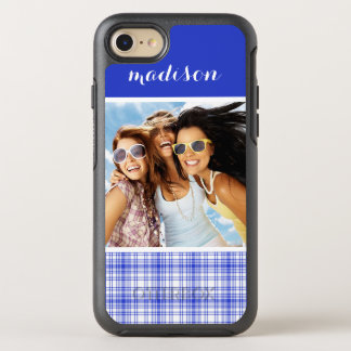 Photo & Name Blue White Plaid 2 OtterBox Symmetry iPhone 8/7 Case