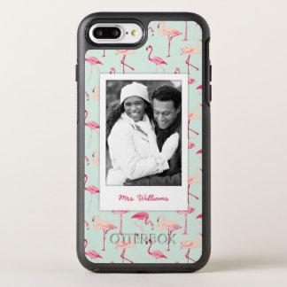 Photo & Name Retro Flamingo Pattern OtterBox Symmetry iPhone 7 Plus Case