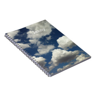 Photo of Blue Sky with Clouds Add Your Name Note Book