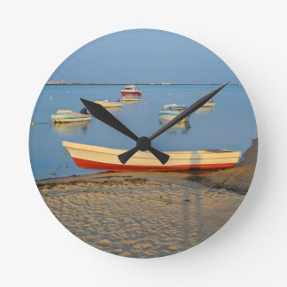 Photo of boats in bay at sunset in Portugal Round Clock