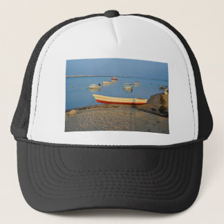Photo of boats in bay at sunset in Portugal Trucker Hat
