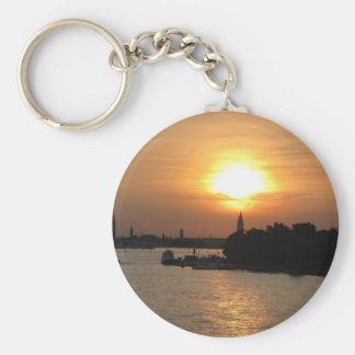 Photo of dramatic Sunset in Venice laguna, Italy Basic Round Button Key Ring
