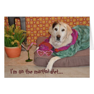 Photo of glamorous dog with martini. Any occasion. Card