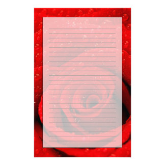 Photo of Red Rose Background Custom Stationery