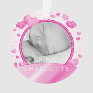 Photo Ornament | Baby Girl Pink Hearts