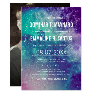 Photo Pastel Galaxy Wedding Invitation