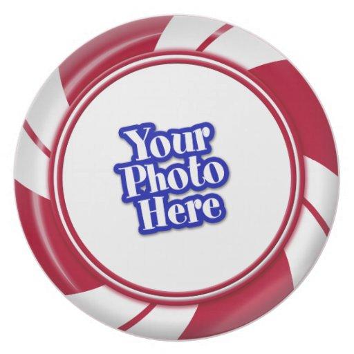 Photo Peppermint Swirl Stripe Candy Dinner Plates