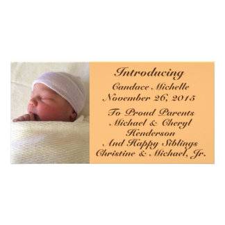 Photo Personalized Baby Birth Announcement 4x8 Personalized Photo Card