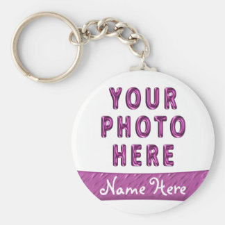 Photo Picture Keychains with Name on Pink Banner
