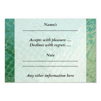 "Photo picture of green plastic cover. 3.5"" x 5"" invitation card"
