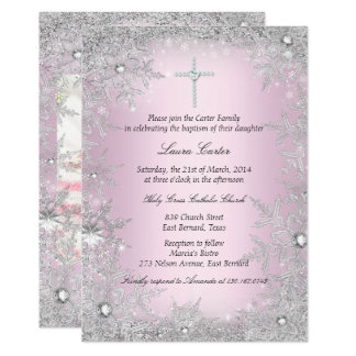 Photo Pink Silver Snowflake Baptism/Christening Card