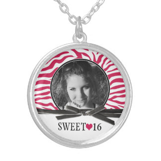 Photo Pink Zebra Sweet 16 Keepsake Silver Plated Necklace