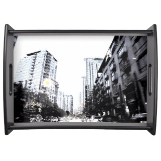 Photo plate of city the night serving tray
