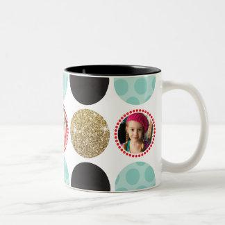 PHOTO POLKA DOT modern kid picture spot black gold Two-Tone Coffee Mug
