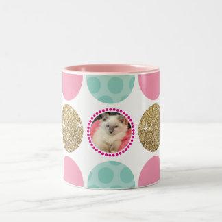 PHOTO POLKA DOT modern kids picture spot pink gold Two-Tone Coffee Mug