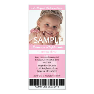Photo Princess Party Ticket Card
