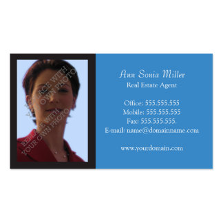 Photo Real Estate Business Cards Template - Blue