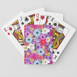 Photo real floral collage playing cards