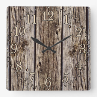 Photo Realistic Rustic, Weathered Wood Board Square Wall Clock