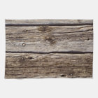 Photo Realistic Rustic, Weathered Wood Board Tea Towel