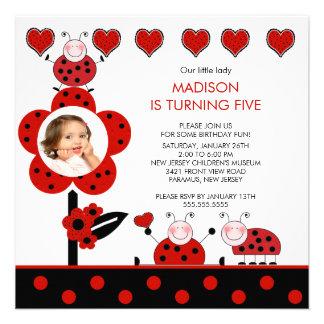 Photo Red Black Ladybug Birthday Invitation