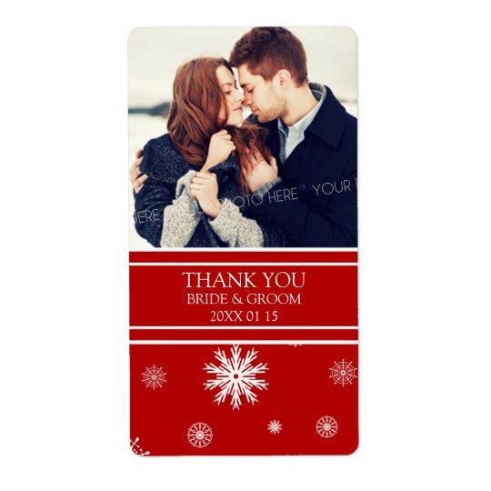 Photo Red White Snowflakes Winter Wedding Label