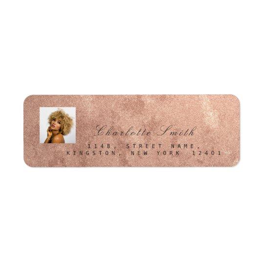 Photo Rose Gold RSVP Adress Name Metallic Return Address Label