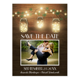Photo Rustic Mason Jar Save the Date Postcards