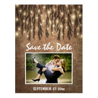 Photo Rustic Willow Tree Save the Date Postcards