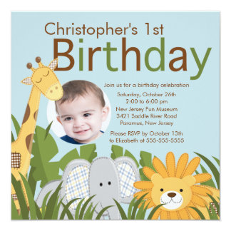 Photo Safari Jungle Animal Kid Birthday Party 13 Cm X 13 Cm Square Invitation Card